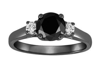 Black Diamond Wedding Ring ,Three Stone Engagement Ring Vintage Style 14K Black Gold 1.25 Carat Certified Handmade