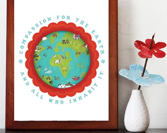 Compassion for our Earth Poster, 11x14, Global Child, Environmental Art, Gender Neutral, Animals, Nursery or Playroom Decor