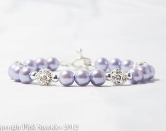 Lavender Pearl Rhinestone Bracelet, Bridal Bracelet, Wedding Jewellery