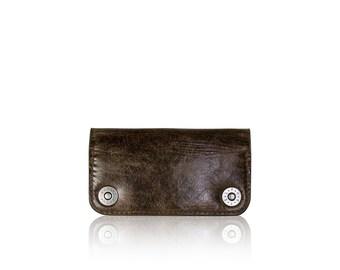 iPhone 6, iPhone 7, iPhone 8, iPhone X RETROMODERN aged leather wallet - - DARKBROWN