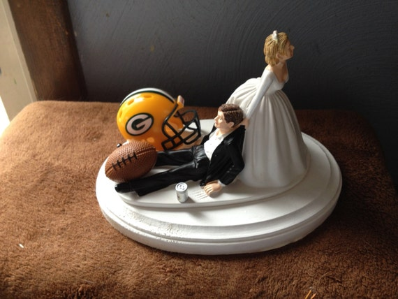 Green Bay packers Wedding Cake Topper Bridal Funny Football