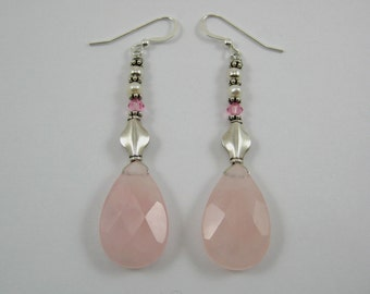 Rose Quartz and Swarovski Earrings (E57)