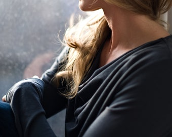 Gray Cowl Neck Long Sleeve Natural Merino Wool T-Shirt Top - by Vielet Performance Merino