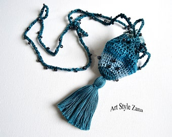 Medicine Small Bag Necklace, Talisman necklace, Blue Pouch for crystal, Amulet Bag, Medicine Crystal Holder, Handmade Crochet Neck Pouch