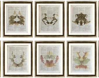 10 Vintage Prints Doctor Psychology Psychiatry Hermann Rorschach Inkblot Test Freud Gift Mental Health Dictionary Vintage Upcycled Book Art