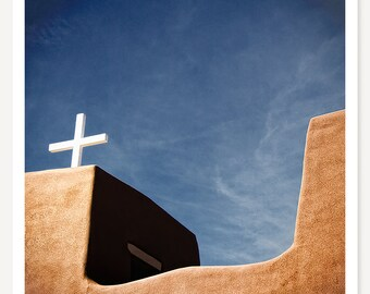 Nambe One - New Mexico Photograph - Minimalist Color Photography - Historic Southwest Church Art - Southwestern Decor