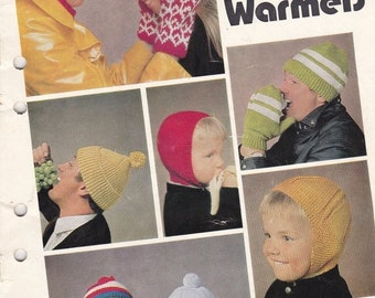 ON SALE Patons Family Hats, Beanies, Mittens, Scarves- Knitting Pattern No 942 Vintage 1970s Original Pattern