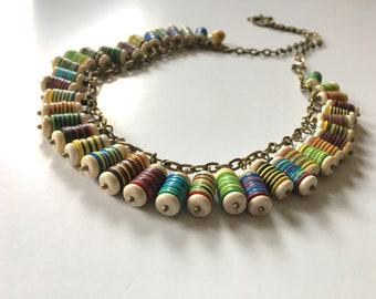Howlite  African Heishi Vinyl/Vulcanite Necklace - 25""