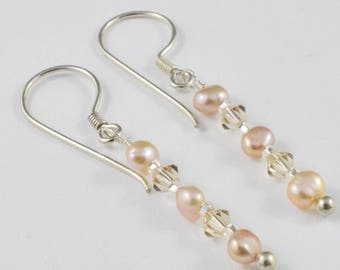 Champagne Pearl and Crystal Single Drop Earrings, Sterling Silver Dangly One of a Kind Design (233)