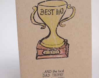 Greeting Card- Best Dad Trophy