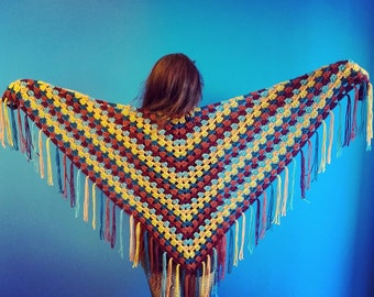 Crochet Camp Collection - Button Shawl with Fringe