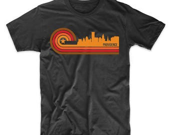 Retro Style Providence Rhode Island Skyline T-Shirt