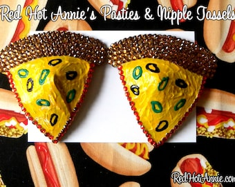 Rhinestone Chicago Pizza Pepperoni Cheese Burlesque Pasties (Any Toppings)