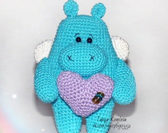 knitted hippopotamus handmade toys knitted toy butterfly hippopotamus turquoise hippopotamus hippo with heart Hippo with wings Gift to child