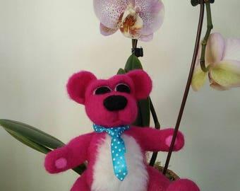 Pink teddy bear, handmade needle felted