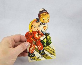 Vintage Kids Skying Valentine, Kid's School Valentine's Day Card With Motion