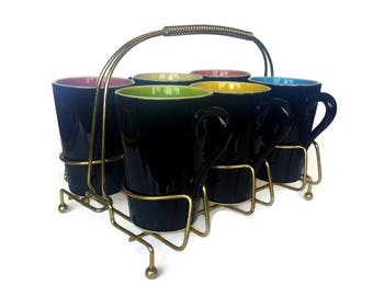 Retro Coffee Mugs in Brass Caddy, Black Mugs, Multi Color, 1950s Pastel, Ceramic Mug Set of Six