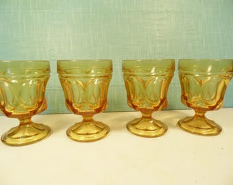 Vintage Amber Goblet Glasses - Anchor Hocking - Fairfield - Set Of 4 - 6 Oz