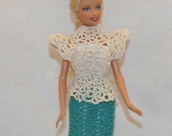 Teal and taupe peplin dress fits Barbie