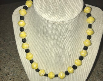 Paper and Glass Bead Necklace