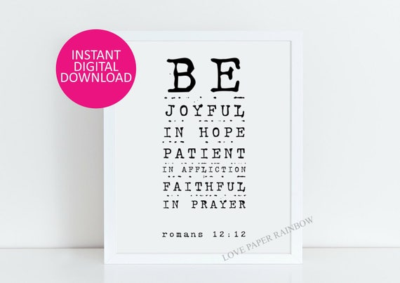 christian gift bible verse wall art printable Be joyful in Hope Romans 12:12 printable christian wall art baptism gift digital download