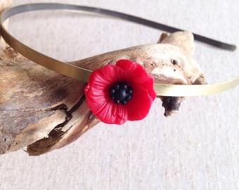 Shake rustic Bohemian poppy flower - jewelry Bohemian headband, brass, retro, minimalist, vintage, romantic jewelry