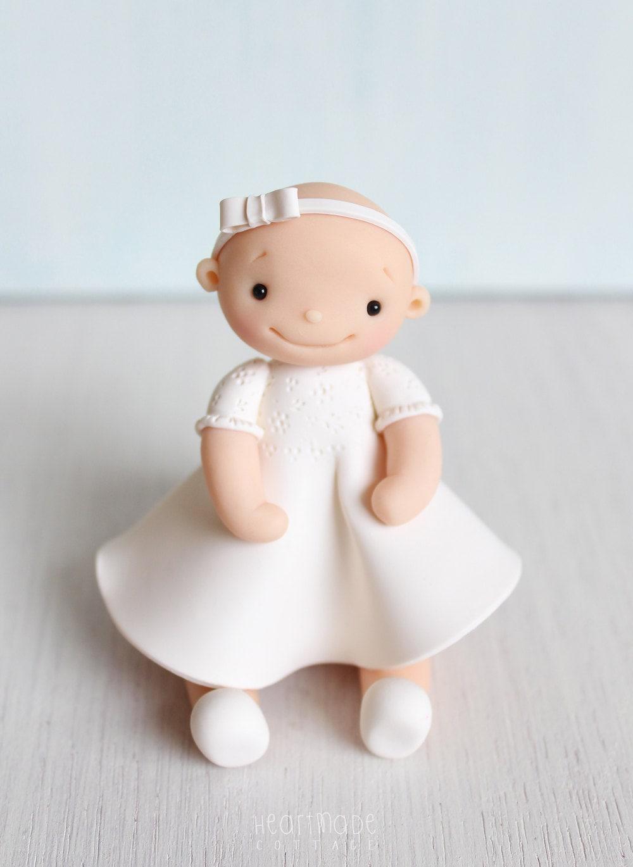 Christening Baptism Birthday Baby Girl polymer clay cake