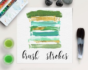 GREENERY, Brush Strokes Clipart, Make-up Logo, Green And Gold Brush Strokes Collection, Hand Painted Brush Lines, Isolated Objects, BUY5FOR8