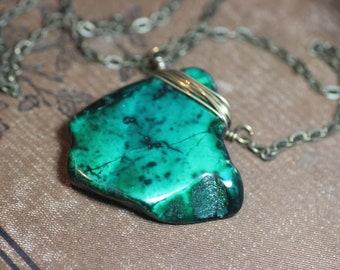 Jasper Necklace Impression Jasper Slab Pendant Green Gemstone Pendant