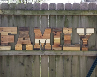 """Rustic Home Decor, pallet wall art, FAMILY, reclaimed pallet letters, industrial wood letters, pallet letters, large wood letters, 16"""""""