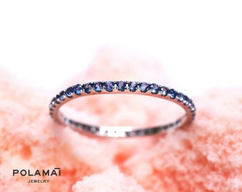 Sapphire Eternity Ring . Wedding Band . Stacking Ring . Full 3/4 Half Eternity 18k or 14k Gold . Blue Sapphire Band . Yellow White Rose Gold