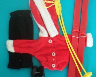 Vintage / Doll Clothing Set / Fashion Doll Size / Sewn on Card / Made in Hong Kong / Coat / Skis & Poles / Shoes and Pants