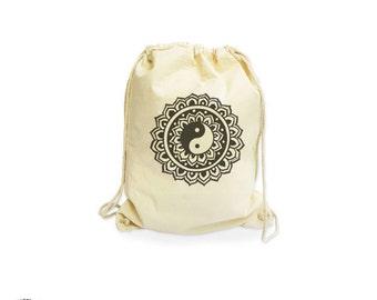 Ying yang organic backpack-yoga gymsack-mehndi gymsack-custom bag-henna bag-cool gymsack-mandala backpack-cool bag-NATURA PICTA-NGS021