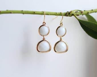 White Onyx Earrings - Gold Dangle Earrings - Stone Earrings - Drop Earrings - Birthstone Earrings - White Jewellery -Onyx Earrings
