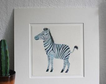 "Original illustration of ""Zebra"" - gouache"