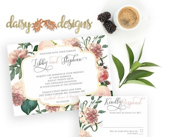 Pink and gold wedding invitations / Gold and Blush / Pink Floral  invitation set / Blush blossom wedding suite / Printed wedding invitations