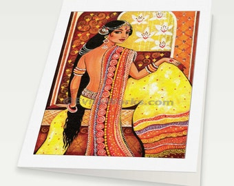 beautiful Indian woman Indian decor feminine beauty Indian bride art, Indian woman card, woman card, blank art card, 6x8