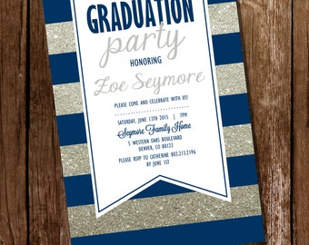 Navy Blue and Silver Graduation Invitation - Silver Graduation Invitation - Instant Download & Edit at home with Adobe Reader
