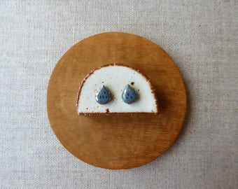 Blue Steel Gold Speckled Raindrop Stud Earrings Sample SALE
