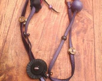 Necklace 'Saturday plum' purple, purple and black
