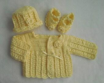 baby sweater, baby cardigan, baby crochet sweater girl, baby girl dress, yellow baby sweater, infant sweater crochet baby sweater baby dress