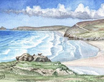 Perranporth Beach Summer in watercolor, ORIGINAL painting, happy English summer memory, by David Platt, FREE shipping