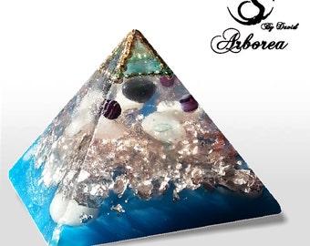 Orgonite ® XL Atlantis Blue Orgonite pyramid orgone, orgonit Hematite,