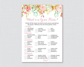 Pink Floral What's in Your Purse Game - Printable Pink and Gold Flower Bridal Shower Purse Game - Pink Garden Bridal Purse Raid Game 0004
