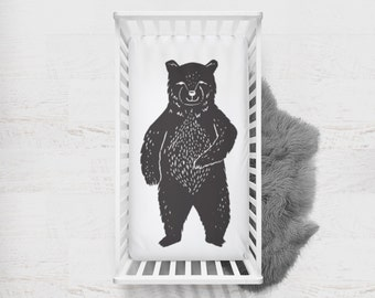 Fitted Crib Sheet Bear. Bear Crib Sheet. Bear Baby Bedding. Black Crib Sheet. Woodland Crib Sheet. Minky Crib Sheet. Bear Silhouette.