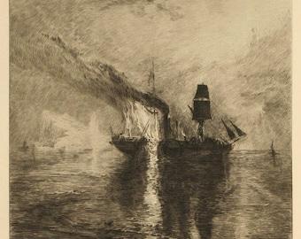Brunet-Debaines Original Etching Wilkie's Burial at Sea after Turner 1874 Portfolio Edition Unmatted, Unframed