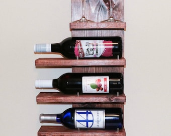 Wine Rack, wine shelf, horizontal wine rack, rustic decor, wine holder, display rack, home decor, wedding gift, wine bottle, wine glass