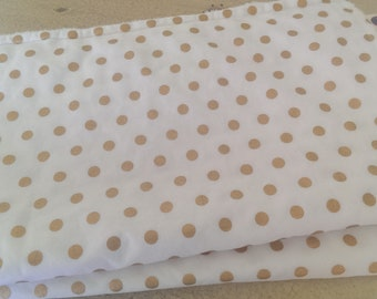 Burping Cloths - 2 pack gold polkadots - large - cotton and minky