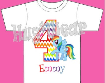 Rainbow (Chevron) Dash Birthday Shirt + Tutu Outfit (any age) My Pony theme