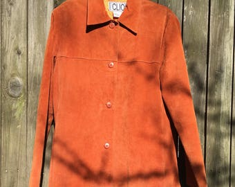 CLIO 60s Mod Orange Suede Jacket with Oange Silk Lining